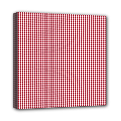 USA Flag Red and White Gingham Checked Mini Canvas 8  x 8