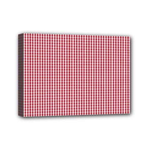 USA Flag Red and White Gingham Checked Mini Canvas 7  x 5