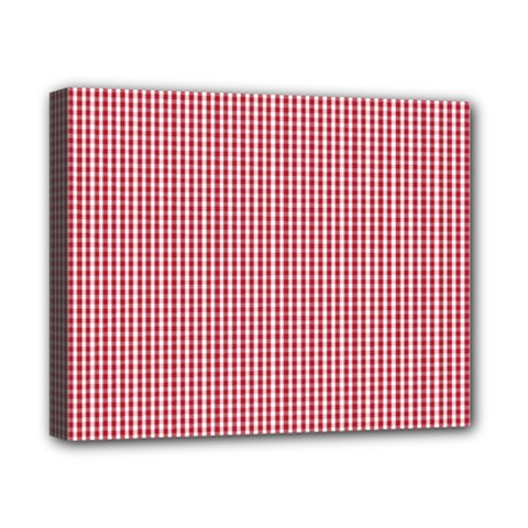 USA Flag Red and White Gingham Checked Canvas 10  x 8