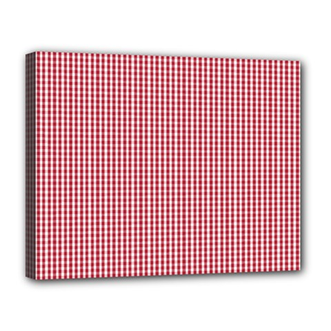 USA Flag Red and White Gingham Checked Canvas 14  x 11