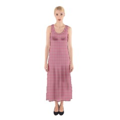 USA Flag Red and White Gingham Checked Sleeveless Maxi Dress