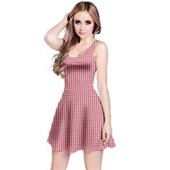 USA Flag Red and White Gingham Checked Reversible Sleeveless Dress