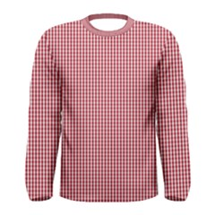 USA Flag Red and White Gingham Checked Men s Long Sleeve Tee