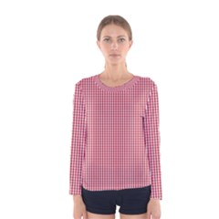 USA Flag Red and White Gingham Checked Women s Long Sleeve Tee