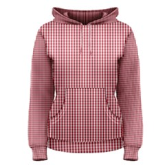 USA Flag Red and White Gingham Checked Women s Pullover Hoodie