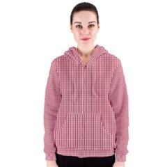 USA Flag Red and White Gingham Checked Women s Zipper Hoodie