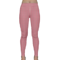 USA Flag Red and White Gingham Checked Classic Yoga Leggings