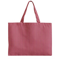 USA Flag Red and White Gingham Checked Zipper Mini Tote Bag