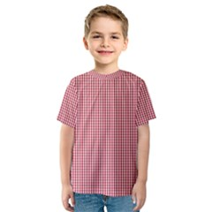 USA Flag Red and White Gingham Checked Kids  Sport Mesh Tee