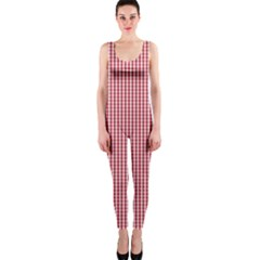 USA Flag Red and White Gingham Checked OnePiece Catsuit