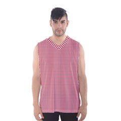 USA Flag Red and White Gingham Checked Men s Basketball Tank Top