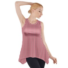 USA Flag Red and White Gingham Checked Side Drop Tank Tunic