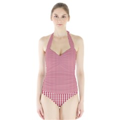 USA Flag Red and White Gingham Checked Halter Swimsuit