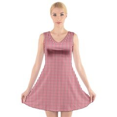 USA Flag Red and White Gingham Checked V-Neck Sleeveless Skater Dress