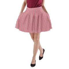 USA Flag Red and White Gingham Checked A-Line Pocket Skirt