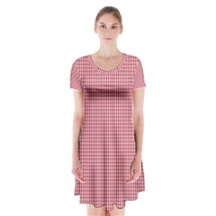 USA Flag Red and White Gingham Checked Short Sleeve V-neck Flare Dress