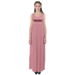 USA Flag Red and White Gingham Checked Empire Waist Maxi Dress