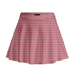 USA Flag Red and White Gingham Checked Mini Flare Skirt