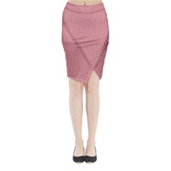 USA Flag Red and White Gingham Checked Midi Wrap Pencil Skirt