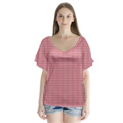 USA Flag Red and White Gingham Checked Flutter Sleeve Top