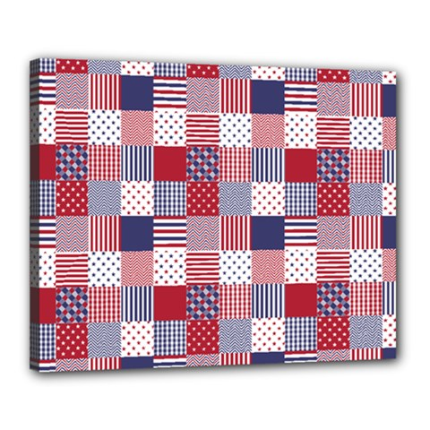 USA Americana Patchwork Red White & Blue Quilt Canvas 20  x 16
