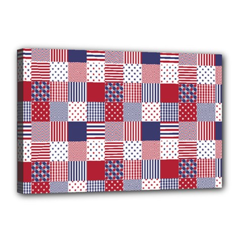 USA Americana Patchwork Red White & Blue Quilt Canvas 18  x 12
