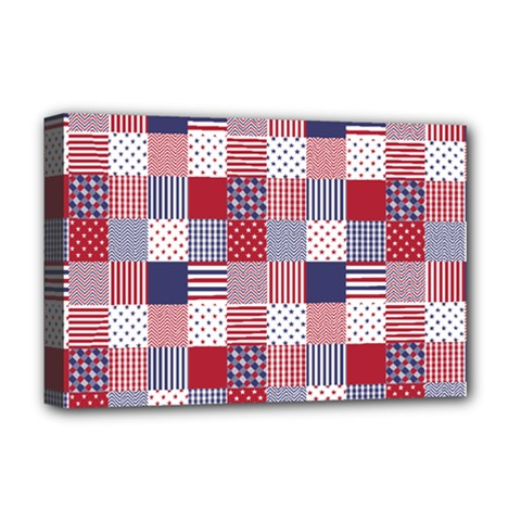 USA Americana Patchwork Red White & Blue Quilt Deluxe Canvas 18  x 12
