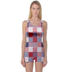 USA Americana Patchwork Red White & Blue Quilt One Piece Boyleg Swimsuit
