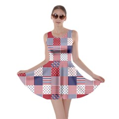 USA Americana Patchwork Red White & Blue Quilt Skater Dress