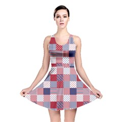 USA Americana Patchwork Red White & Blue Quilt Reversible Skater Dress