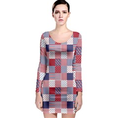 USA Americana Patchwork Red White & Blue Quilt Long Sleeve Bodycon Dress