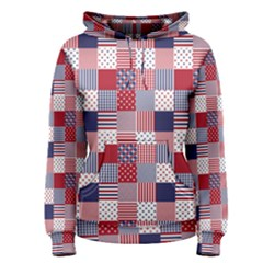 USA Americana Patchwork Red White & Blue Quilt Women s Pullover Hoodie