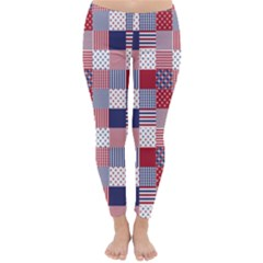 USA Americana Patchwork Red White & Blue Quilt Classic Winter Leggings