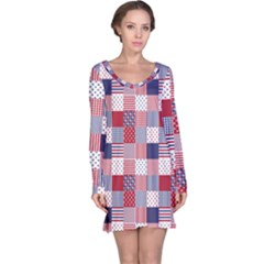 USA Americana Patchwork Red White & Blue Quilt Long Sleeve Nightdress