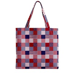 Usa Americana Patchwork Red White & Blue Quilt Zipper Grocery Tote Bag