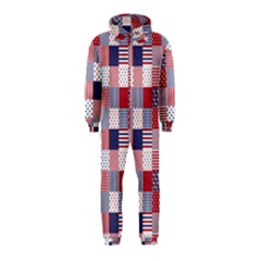 Usa Americana Patchwork Red White & Blue Quilt Hooded Jumpsuit (kids)