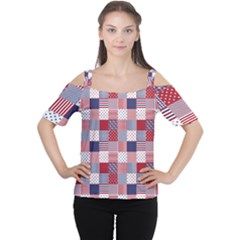 USA Americana Patchwork Red White & Blue Quilt Women s Cutout Shoulder Tee