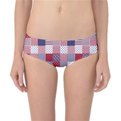 USA Americana Patchwork Red White & Blue Quilt Classic Bikini Bottoms