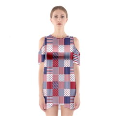 USA Americana Patchwork Red White & Blue Quilt Shoulder Cutout One Piece
