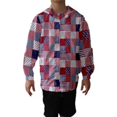 USA Americana Patchwork Red White & Blue Quilt Hooded Wind Breaker (Kids)