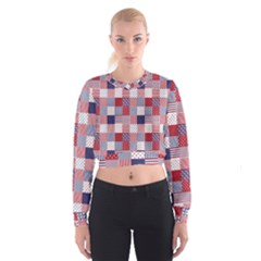 USA Americana Patchwork Red White & Blue Quilt Cropped Sweatshirt