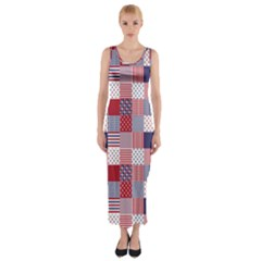 USA Americana Patchwork Red White & Blue Quilt Fitted Maxi Dress