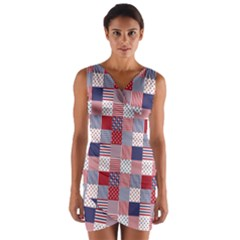 Usa Americana Patchwork Red White & Blue Quilt Wrap Front Bodycon Dress