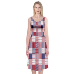 USA Americana Patchwork Red White & Blue Quilt Midi Sleeveless Dress