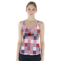 USA Americana Patchwork Red White & Blue Quilt Racer Back Sports Top