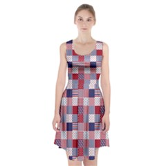 USA Americana Patchwork Red White & Blue Quilt Racerback Midi Dress