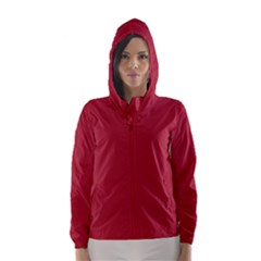 USA Flag Red Blood Red classic solid color  Hooded Wind Breaker (Women)