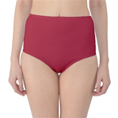 USA Flag Red Blood Red classic solid color  High-Waist Bikini Bottoms