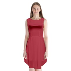 USA Flag Red Blood Red classic solid color  Sleeveless Chiffon Dress