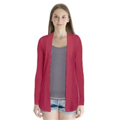 USA Flag Red Blood Red classic solid color  Drape Collar Cardigan